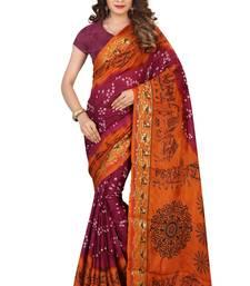 Buy Bandhani Saree By Kmozi (Orange and Purple) Woman online