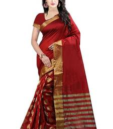 Buy Red embroidered cotton silk saree with blouse cotton-saree online