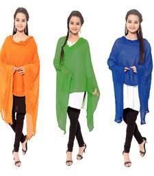 Buy Multicolor plain cotton stole and dupattas stole-and-dupatta online