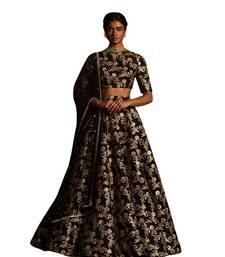 Buy Black embroidered raw silk semi stitched lehenga lehenga-choli online