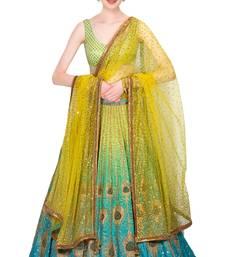 Buy Rozy Fashion Blue and green peacock artwork & printed lehenga set with yellow glitter work on dupatta lehenga-choli online