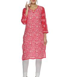 Buy Pink embroidered georgette embroidered-kurtis embroidered-kurtis online