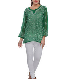 Buy Green embroidered georgette embroidered-kurtis embroidered-kurti online