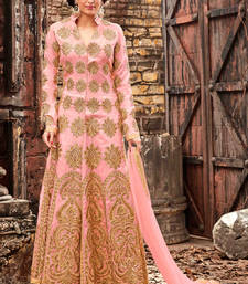 Buy Baby pink embroidered silk semi stitched salwar with dupatta abaya-suit online