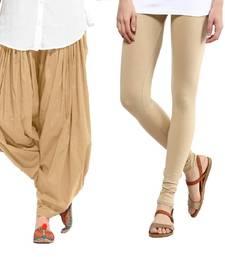 Buy Beige Cotton and Lycra Patiala and Legging patiala-leggings-combo online
