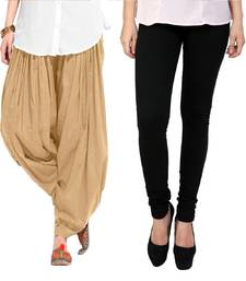 Buy Beige and Black Cotton and Lycra Patiala and Legging patiala-leggings-combo online
