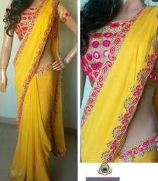 Buy Designer Saree ( By Design Women's Georgette Saree With Banarasi Blouse ) georgette-saree online