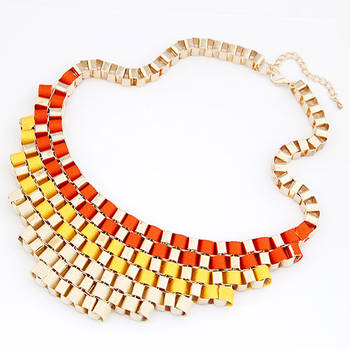 Colored Ribbon Cubic Necklace(CFN0138)