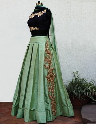 Light green embroidered art silk unstitched lehenga