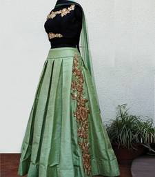 Buy Light green embroidered art silk unstitched lehenga ghagra-choli online