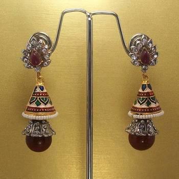 Meenakari Victorian Combo Earrings (Maroon Whites)