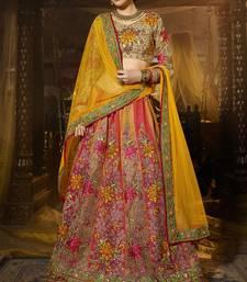 Buy Pink and beige embroidered art silk lehenga with dupatta bridal-lehenga online