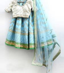 Buy Aqua blue embroidered art silk unstitched lehenga lehenga-choli online