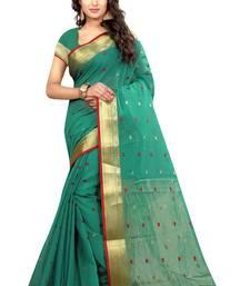 Buy Sea green printed cotton saree with blouse kanchipuram-silk-saree online