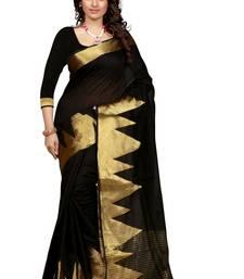 Buy Black printed cotton saree with blouse kanchipuram-silk-saree online