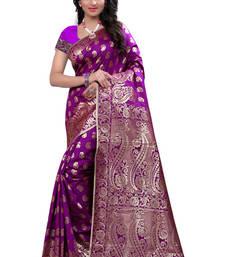 Buy Purple plain polycotton saree with blouse banarasi-silk-saree online