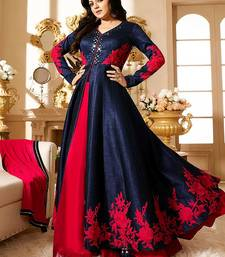 Buy Blue embroidered art silk semi stitched salwar with dupatta bollywood-salwar-kameez-online online