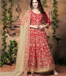 Buy Red embroidered banglori silk semi stitched salwar with dupatta semi-stitched-salwar-suit online