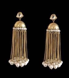 Buy Gold Plated Kundan Jhumka with Tassels and Pearls jhumka online