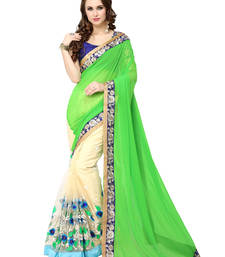 Buy Green embroidered faux georgette saree with blouse half-saree online