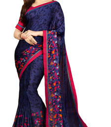 Buy Multicolor plain georgette saree with blouse printed-saree online