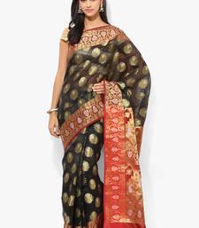 Buy Black woven blended cotton saree with blouse banarasi-saree online