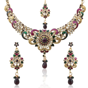 Purple Green Flower Kundan Like Necklace Set mh39