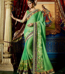 Buy Parrot green embroidered georgette saree with blouse party-wear-saree online