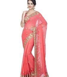 Buy Baby pink embroidered faux georgette saree with blouse black-friday-deal-sale online