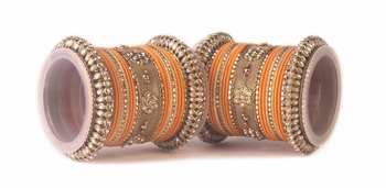Traditional orange kundan bangle set for two hands in matte finish