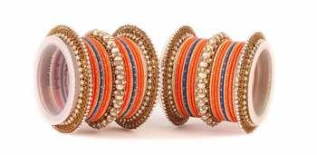 Traditional orange blue pearl chakri bangle set