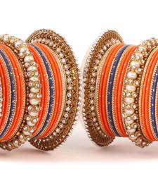 Buy Traditional orange blue pearl chakri bangle set fashion-deal online