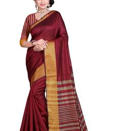 Buy Maroon plain polycotton saree with blouse cotton-saree online