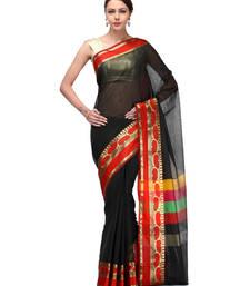 Buy Black woven chanderi saree with blouse chanderi-saree online