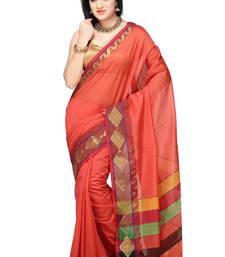 Buy Orange woven chanderi saree with blouse chanderi-saree online