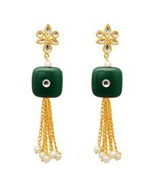 Buy Zinc Alloy Green Gold Plated Kundan Pearl Hanging Earrings Woman online