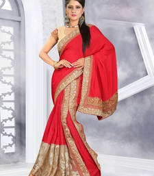 Buy Maroon embroidered chiffon saree with blouse party-wear-saree online