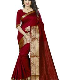 Buy Red woven jacquard saree with blouse jacquard-saree online