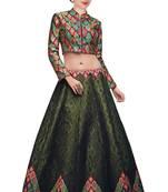 Buy green printed bangalore silk lehenga