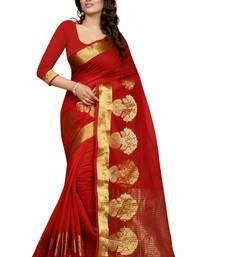 Buy Red plain art silk saree with blouse art-silk-saree online