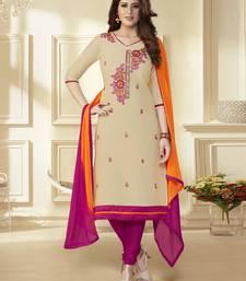 Buy Beige embroidered chanderi unstitched salwar with dupatta black-friday-deal-sale online