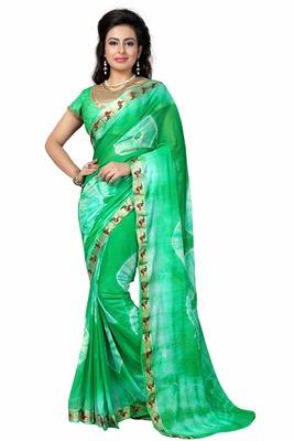 Green printed nazneen saree with blouse