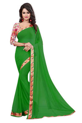 Green printed nazneen saree with blouse