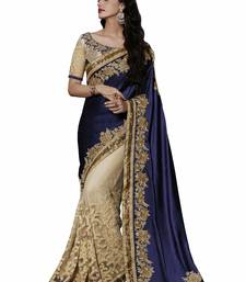 Buy Blue embroidered chiffon saree with blouse black-friday-deal-sale online