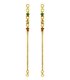 Buy Red Green Polki Stones Ear Chain Jewellery for Women - Orniza Other online