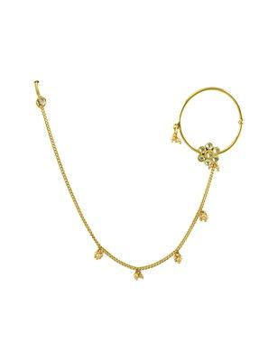 Golden Beige Jadau Kundan Nose Ring Nath Jewellery for Women - Orniza