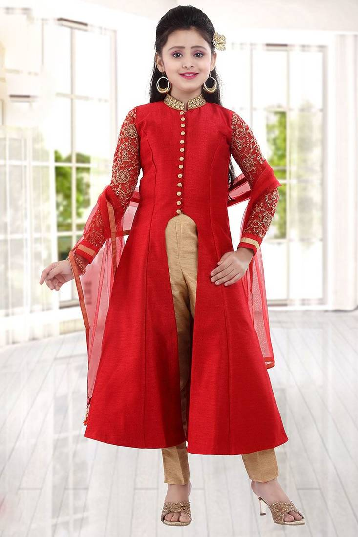 Year Long Nature Study Reminders: Buy Levish Red Sequance Embroidery Banglori Silk With Net