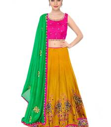 Buy Rozy Fashion Yellow embroidered Taffeta Silk semi stitched lehenga choli material with green dupatta lehenga-choli online