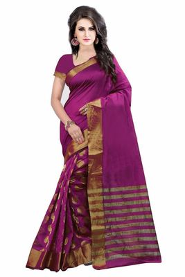 Purple printed bhagalpuri silk saree with blouse