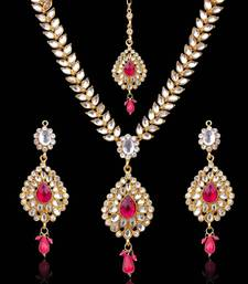 Buy Sparkling Tear Drop with Kundan Leaves Rani Pink India Ethnic Necklace Set d7r jewellery-below-500 online